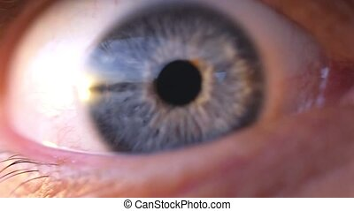 Extreme macro opening of a blue eye of young man in slow...