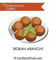 Sicilian arancini with natural herb served on shiny plate...
