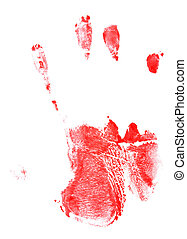 bloody hand print isolated on white background