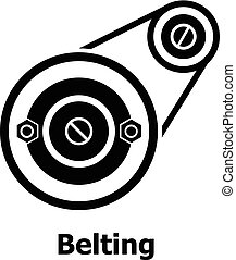 Belting drive icon, simple black style - Belting drive icon....