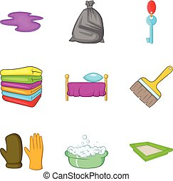 Room cleaning service icon set, cartoon style