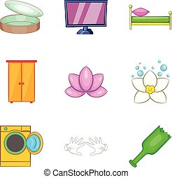 Home cleaning service icon set, cartoon style
