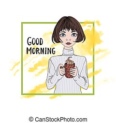 Young cute girl drinking coffee. Vector illustration, isolated on white.