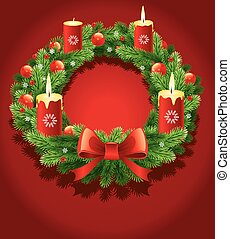 dvent wreath with burning candles for the pre Christmas time