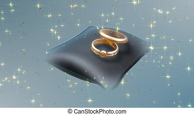 Gold rings and glitter