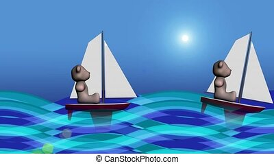 Teddy bears sailing
