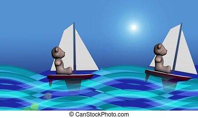 Teddy bears sailing