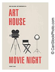 Minimalistic poster template for art house movie night with...