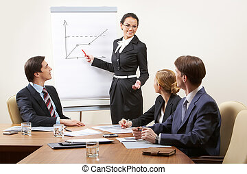 Debating - Several smart business people discussing new...