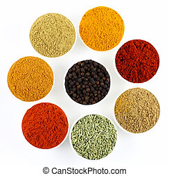 bowls of spices powders