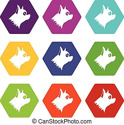 Pinscher dog icon set color hexahedron - Pinscher dog icon...