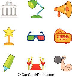 Fashion show icons set, cartoon style - Fashion show icons...