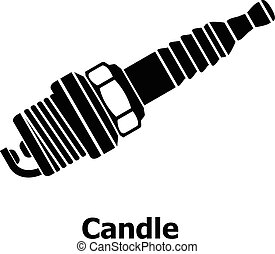 Candle icon, simple black style - Candle icon. Simple...