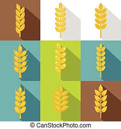 Cereal grain icon set, flat style