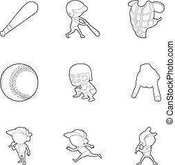 Baseball player icons set, outline style - Baseball player...
