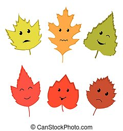 Fall Leaves - Vector illustration of color autumn leaves on...