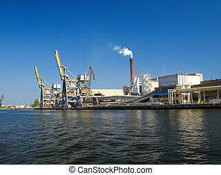 Gantry cranes - Large gantry cranes at the port of Gdansk,...