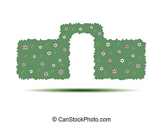 Green hedge with an arch isolated on white background .. An...