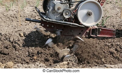 Plowing the soil with a motoblock