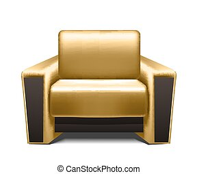 Gold leather armchair isolated on white background