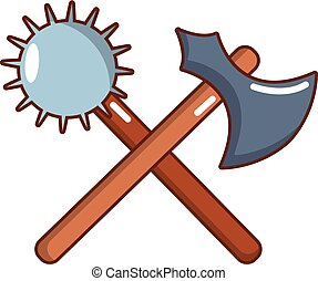 Medieval battle ax and mace icon, cartoon style - Medieval...
