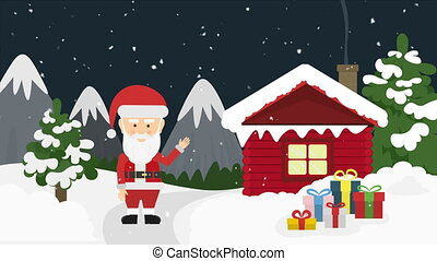 santa claus and gift box in christmas night. Seamless Loop...