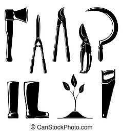 Set of Agricultural Tools - Silhouette of Agricultural Tools...