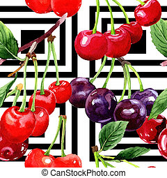 Cherry wild fruit pattern in a watercolor style. - Cherry...