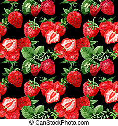 Strawberry wild fruit pattern in a watercolor style. -...