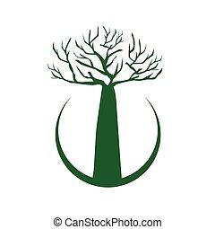Baobab Tree illustration, icon design, isolated on white...