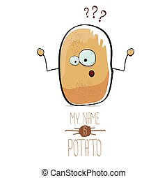 vector funny cartoon cute brown potato isolated on white -...
