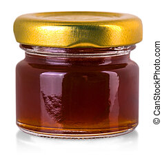 small glass jar with jam isolated on white