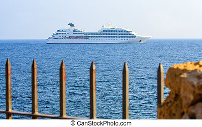 Big cruise liner in the open sea at sunny day. - Big cruise...
