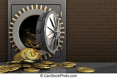 3d bitcoins heap over bricks - 3d illustration of metal safe...