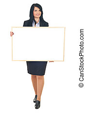 Business woman holding banner - Smiling full length of...