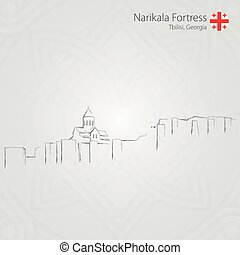 Narikala fortress, Tbilisi, Georgia. Vector Illustration. -...