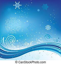 blue christmas background - snow and with wave,christmas...