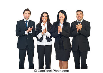 Businesspeople team clapping - Four business people team...