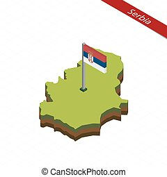 Serbia Isometric map and flag. Vector Illustration. -...