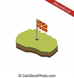 Macedonia Isometric map and flag. Vector Illustration. -...