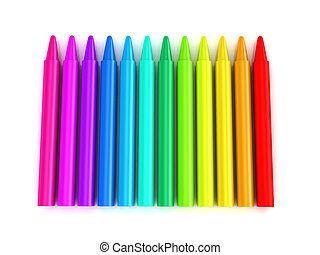 Colour crayons over white background 3d rendered image
