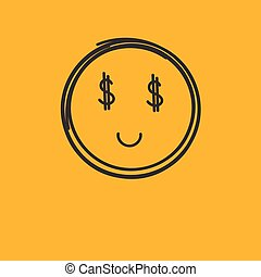 Money - Round smiley with dollars for eyes. Icon online...