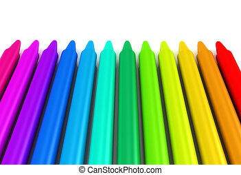 Colour crayons over white background. 3d rendered image
