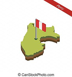 Peru Isometric map and flag. Vector Illustration. -...