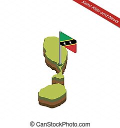 Saint Kitts and Nevis Isometric map and flag. Vector...