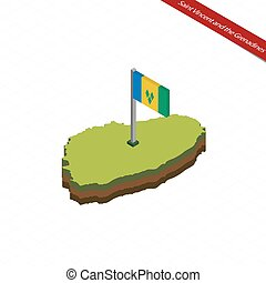 Saint Vincent and the Grenadines Isometric map and flag....