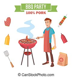BBQ Grill Meat Cooking Vector. Man Cooking Meat. Outdoor...