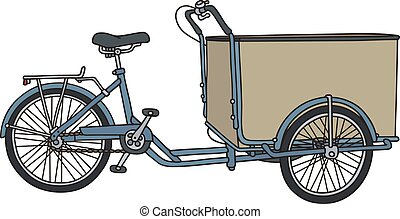 Classic freight rickshaw - Hand drawing of a classic blue...