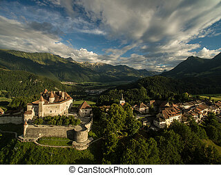 Beautiful view of the medieval town of Gruyeres, home to the...