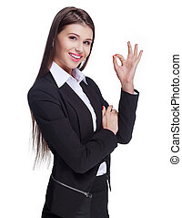 businesswoman with OK sign - beautiful young businesswoman...